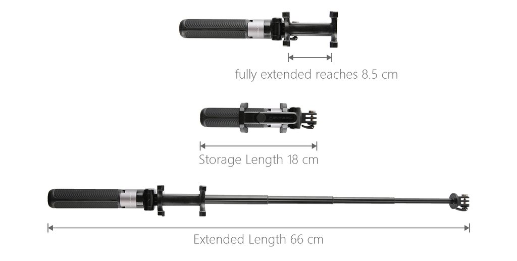 Lightweight and portable The pole is retractable with five extension lengths. The pole measures 66cm in length with tripod fully extended, and 18cm when stored in your pocket, with a weight of only 165g. The width of phone holder fully extended reaches 8.5cm.