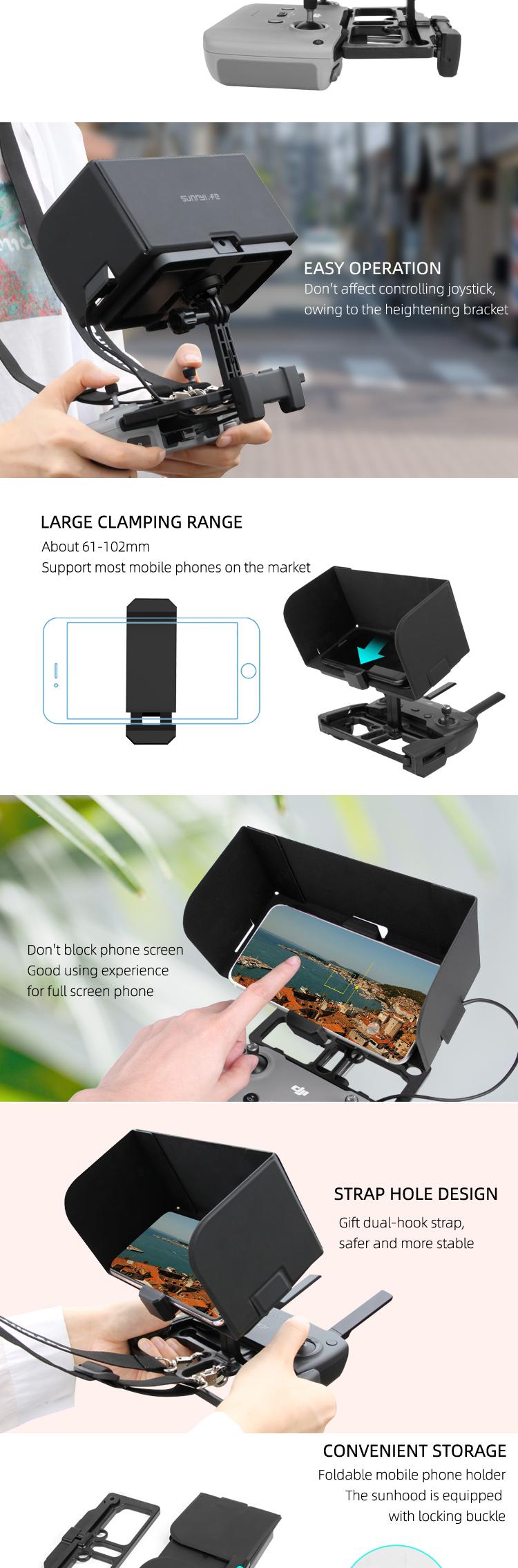 Sunnylife sunhood and phone holder for Mavic Air 2